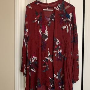 Free People Long Sleeve Tunic Blouse